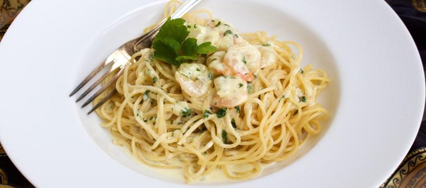 Krämig pasta med räkor- Middag på 30 min