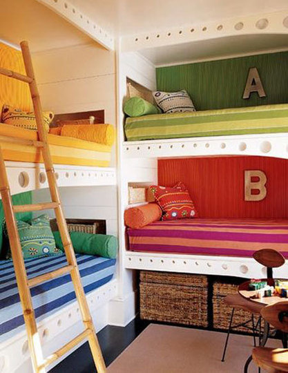 Colourful bunk beds