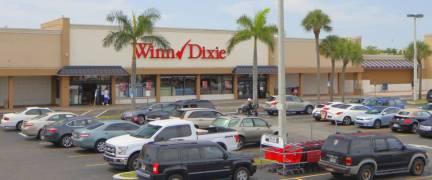 HALLANDALE - JUNE 15: RK Plaza shopping center located in Hallandale Beach with anchor tenant Winn-Dixie shot with an elevated pole June 15, 2016 in Hallandale FL, USA
