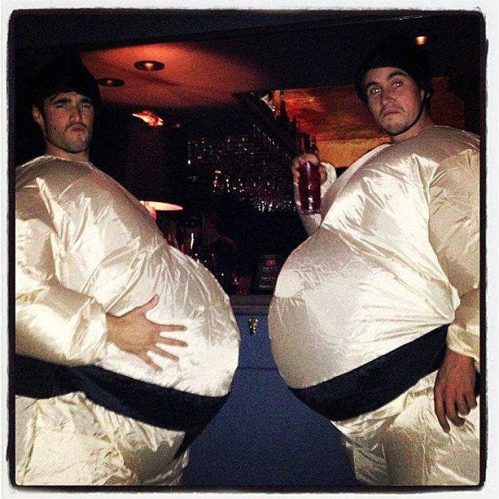 Josh Bowman rocked a sumo-wrestler suit for Halloween.<br /><br /> Source: Instagram user marcmalkin<br /><br />