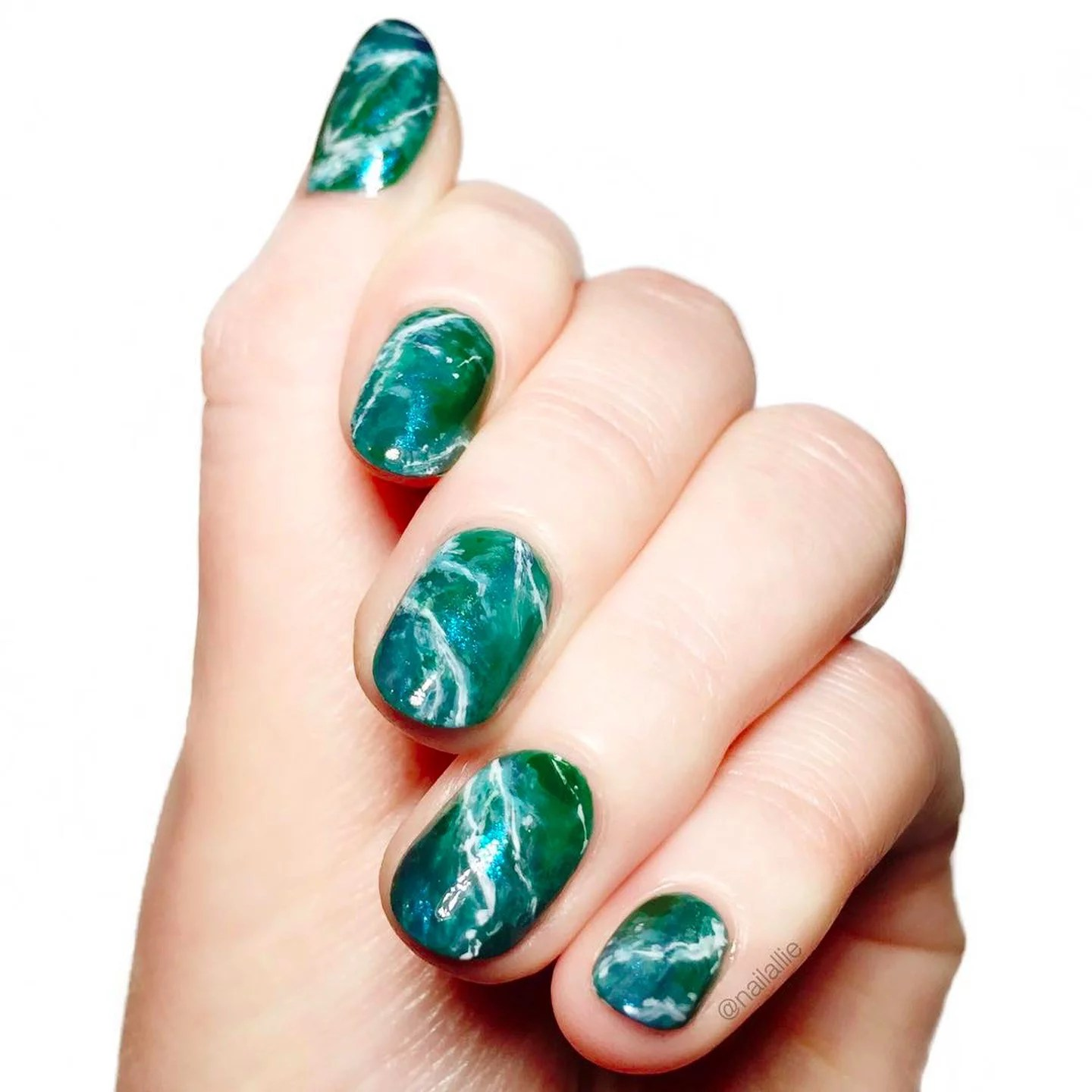 Ocean Inspired Marble Nails   POPSUGAR Beauty