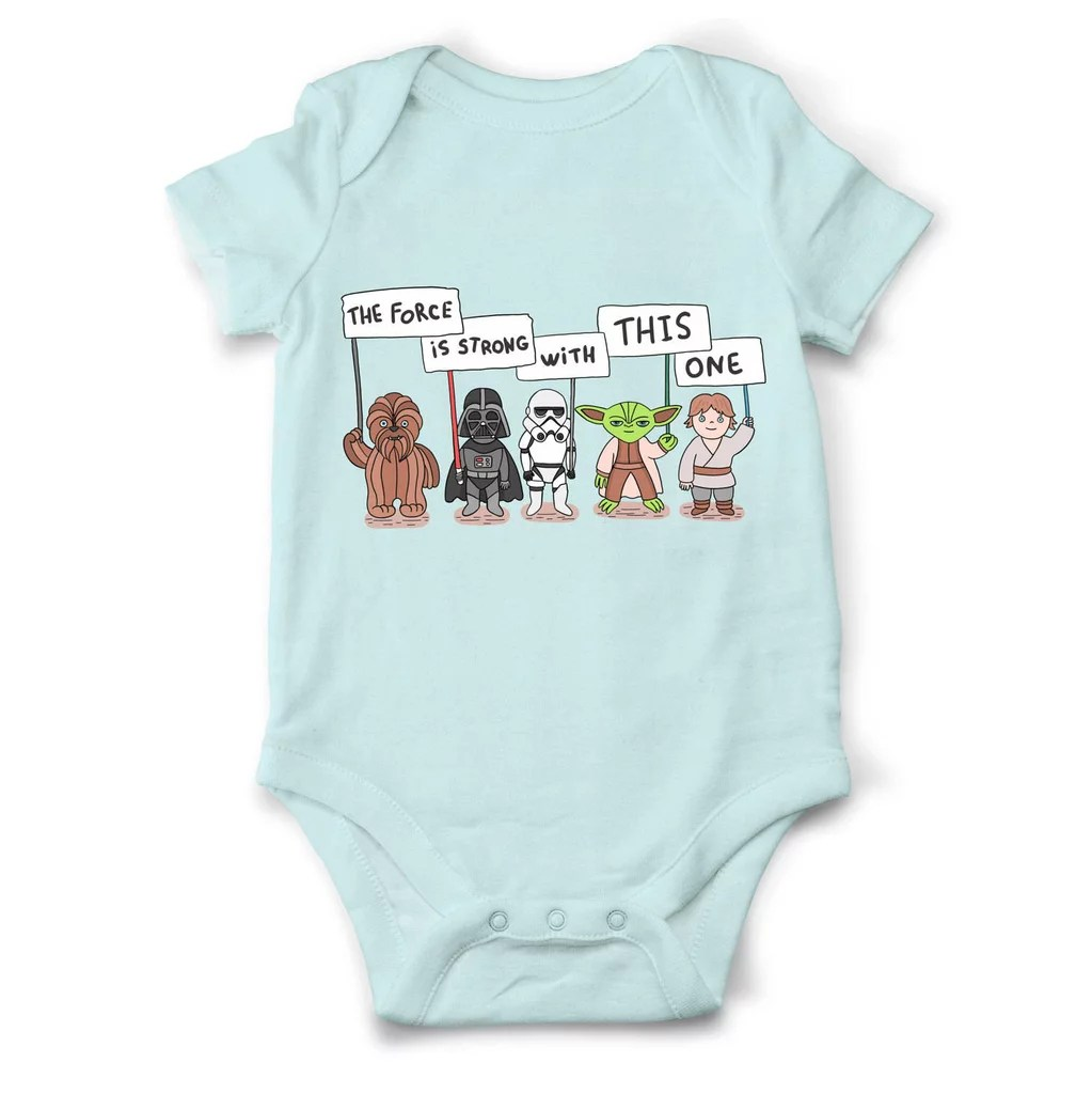 The Force Is Strong Force Is Strong Baby Onesies Popsugar Moms Photo Baby Onesies Boy Diy Baby Onesies baby Cute Baby Onesies