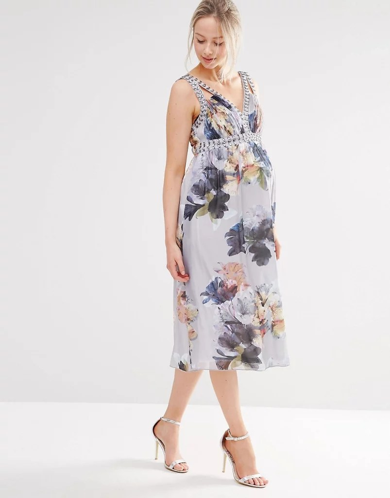 Maternity Dresses Wedding Guests maternity dresses for weddings Little Mistress Maternity Floral Print Dress With Embellishment