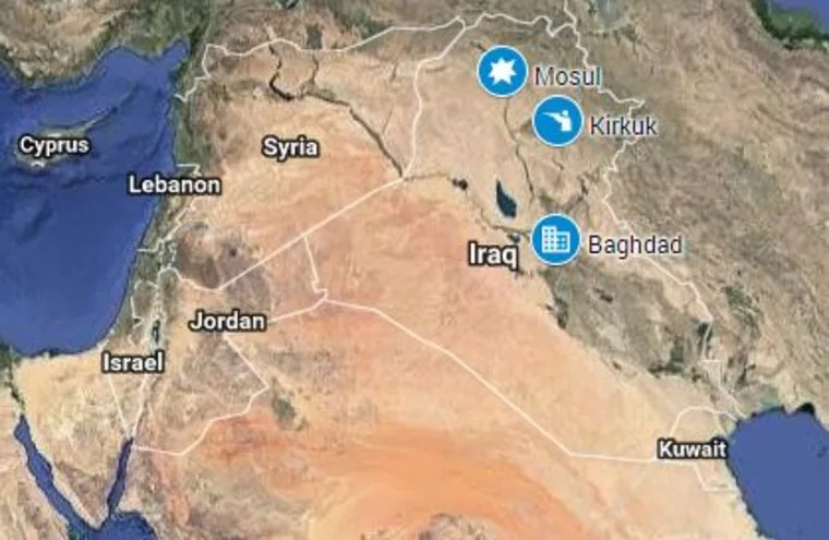 ISIS Fighters Claim Attack on Kirkuk  Iraq Image  A map showing Kirkuk