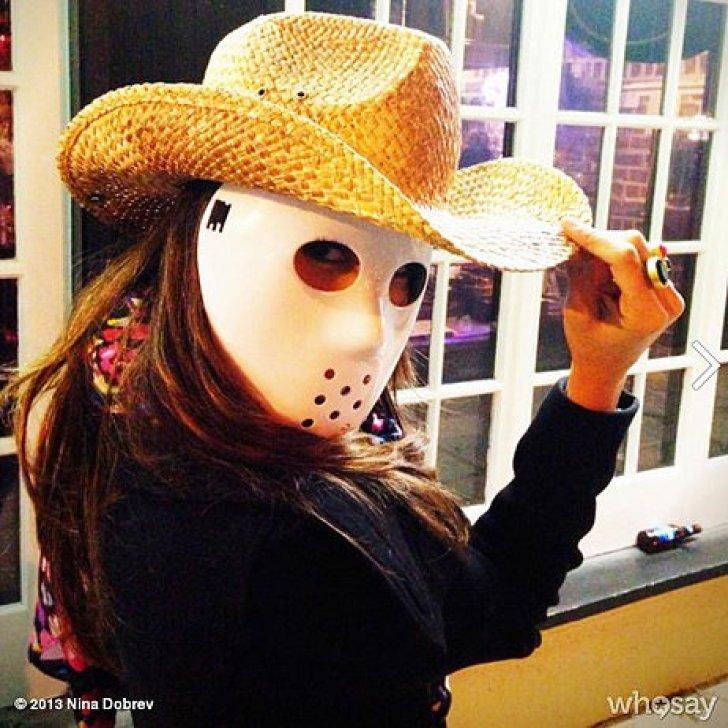 Nina Dobrev got in the spirit with a spooky Halloween mask.<br /><br /> Source: Nina Dobrev on WhoSay<br /><br />