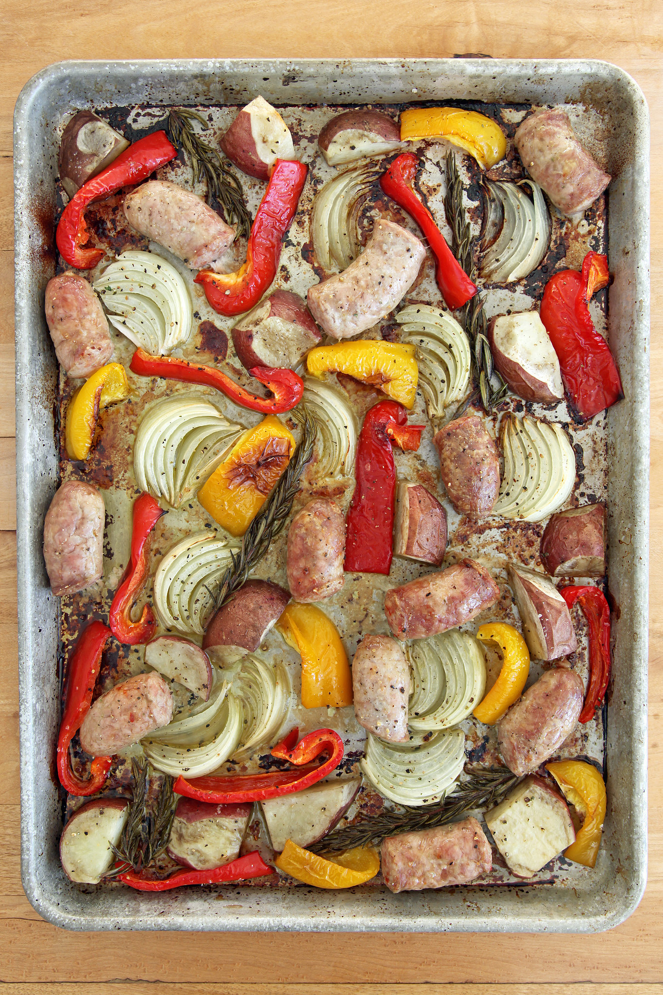 Sweet Peppers Popsugar Food Onions Prep Work All You Need To Do Is Stick Pan Oven After About Minutes Let Oven Work Its Sausages Getsnappy Roasted Italian Sausage nice food Sausage And Peppers In Oven