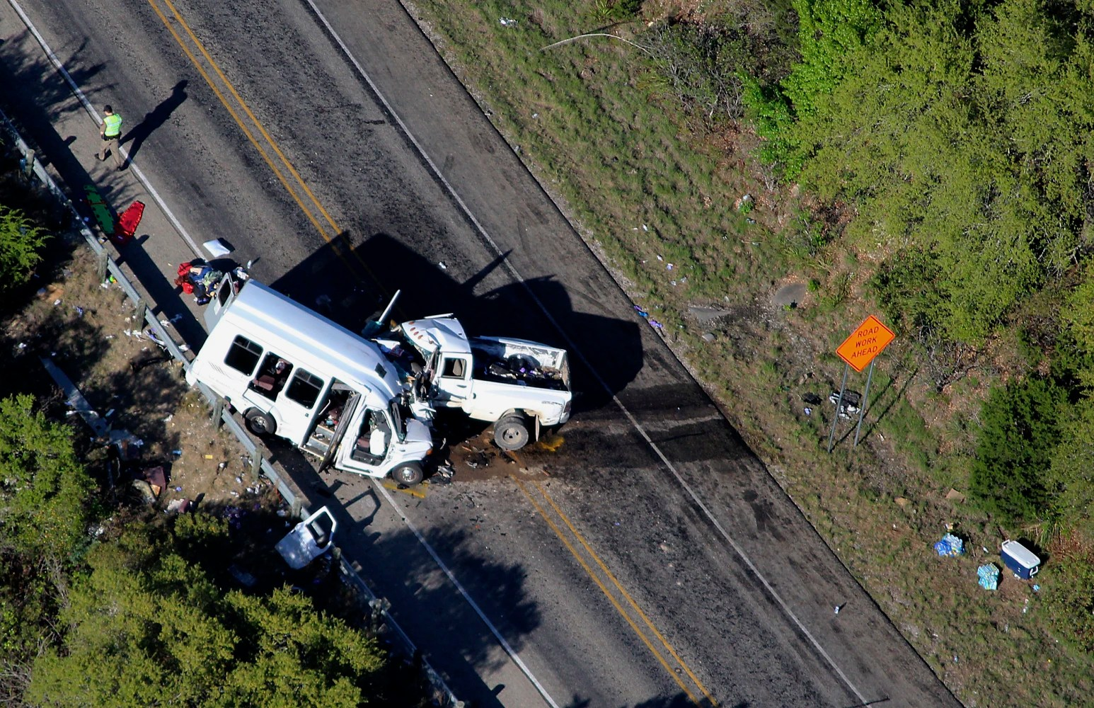 Callers reported a swerving pickup before deadly bus crash