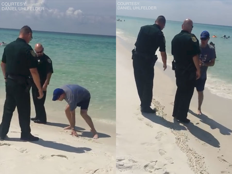 VIDEO  Deputies tell man to leave portion of public beach for     VIDEO  Deputies tell man to leave portion of public beach for trespassing  following new beach law   abcactionnews com WFTS TV