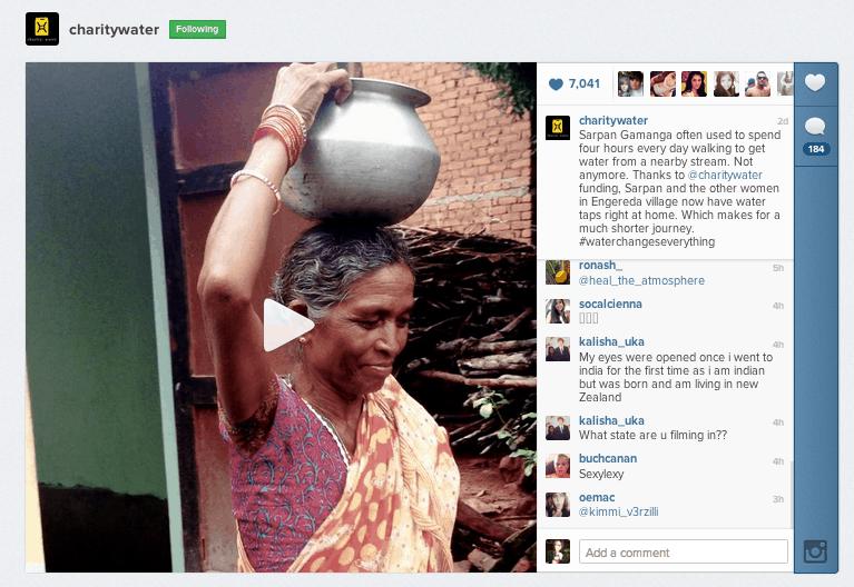 Screenshot of charity:water's video on Instagram