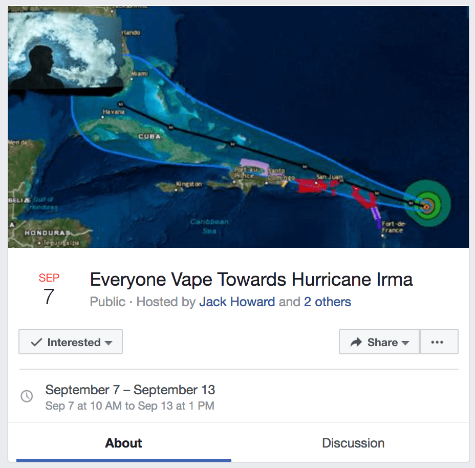 Creative Facebook Event Hurricane Party Moves Here Are Plans To Safely Dance Hurricane Irma Memes Spanish Hurricane Irma Memes Facebook Screenshot From One nice food Hurricane Irma Memes