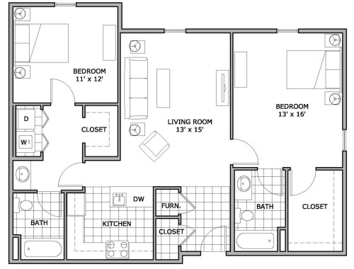 Medium Of 2 Bedroom Floor Plans