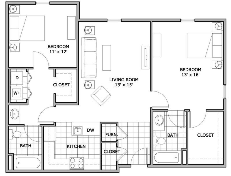 Large Of 2 Bedroom Floor Plans