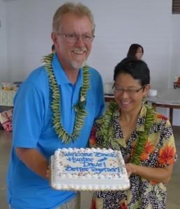 Last summer, Hawaii Tribune-Herald reporter Hunter Bishop celebrated his reinstatement. Photo by Carl Hall 2012.