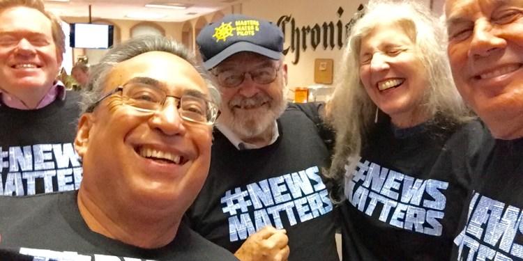 News matters most -- according to JK Dineen , Mike  Cabanatuan, Carl Nolte, Leah Garchik and Steve Rubenstein -- when you get a free T-shirt.