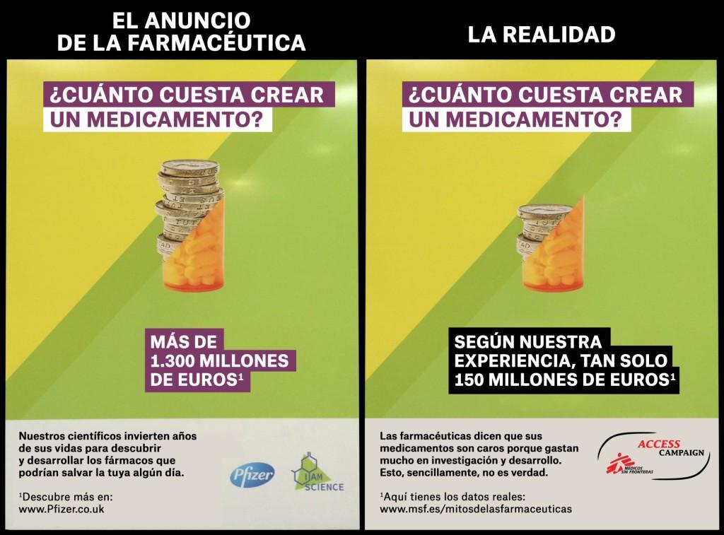 Campaña de Pfizer (traducida al castellano) y la contracampaña de Médicos sin Fronteras en un montaje elaborado por la ONG