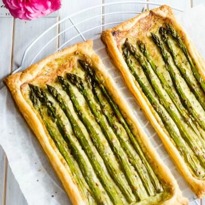 Green Asparagus, Crème Fraîche and Pesto Tart