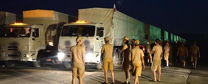 Humanitárny konvoj odchádza z Alabina (Moskovská oblasť)