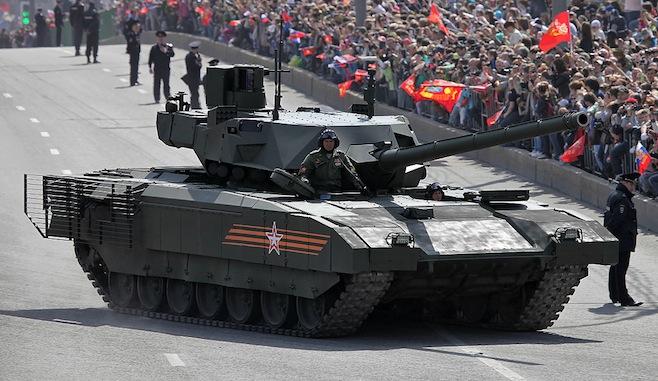 Tank T-14 Armata Tank na prehliadke v Deň víťazstva 9. mája 2015 Moskva. Vitaly V. Kuzmin / Wikicommons