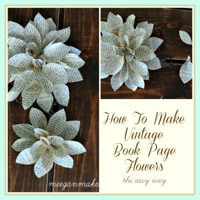 How To Make Vintage Book Page Flowers The Easy Way Button
