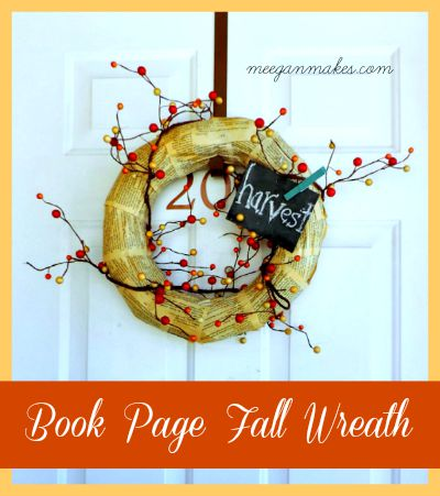 Fall Book page wreath Button