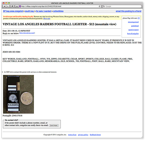 VINTAGE LOS ANGELES RAIDERS FOOTBALL LIGHTER - $12