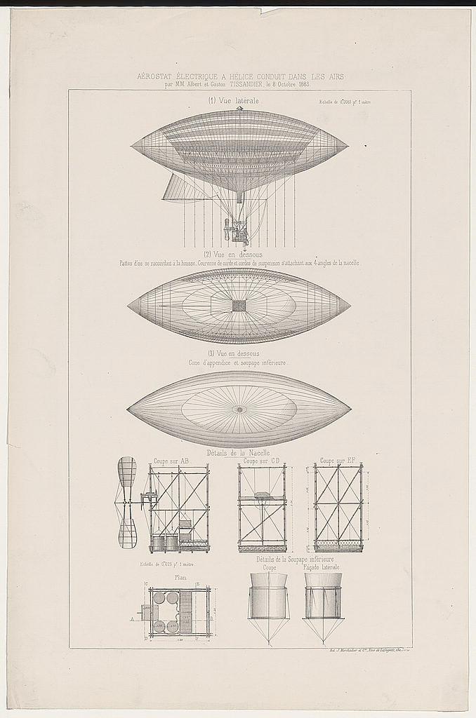 Electric Powered Airship Designed By Albert and Gaston Tissandier :: Library Of Congress
