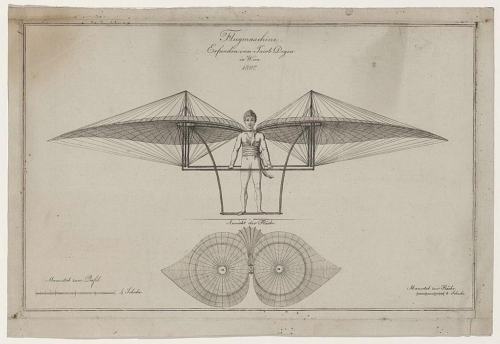 Flugmaschine. Erfunden von Jacob Degen in Wien (1807)
