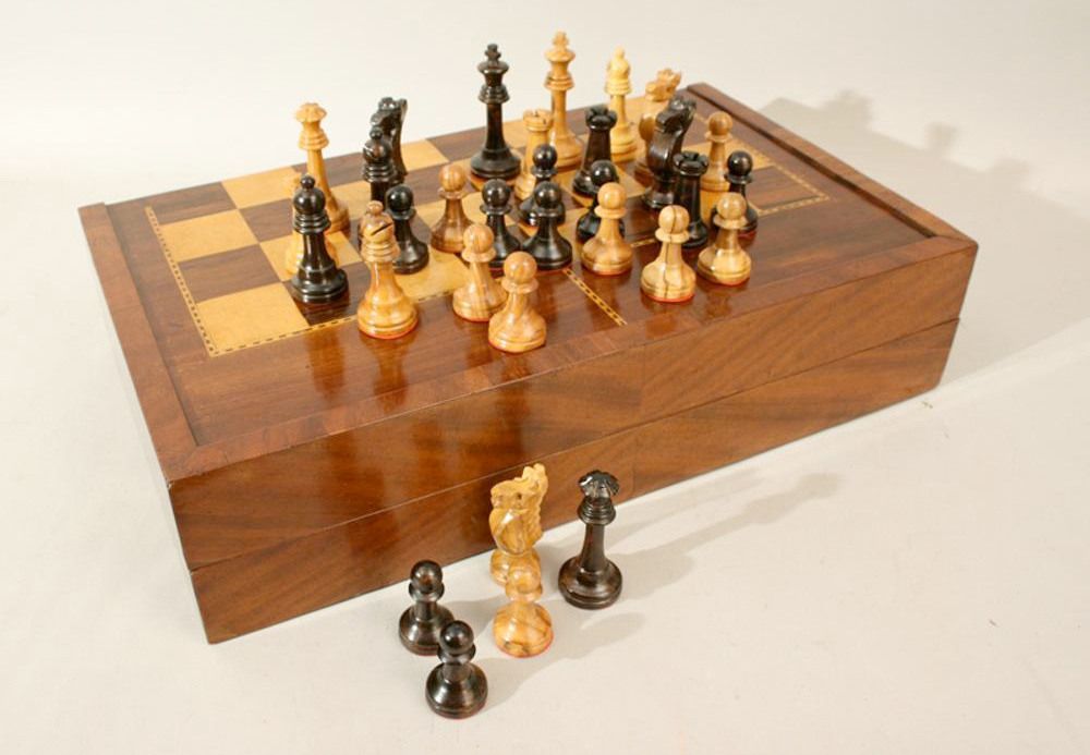 Chess & Backgammon Board (1880) :: Sports Antiques