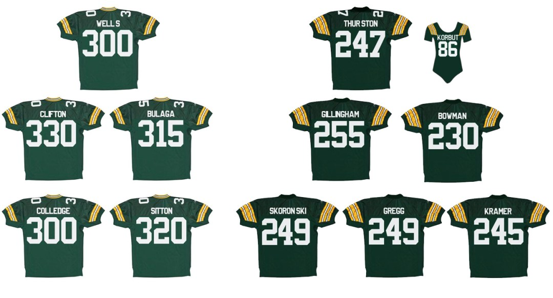 Green Bay Packers Offensive Line Weight Comparison: 1967 vs. 2010. Even with Fuzzy Thurston and Olga Korbut added to the mix – the 2010 Packers' line outweighs the '67 Packers line by four pounds. The Olga Korbut Packer's Jersey would naturally be in throwback colors.