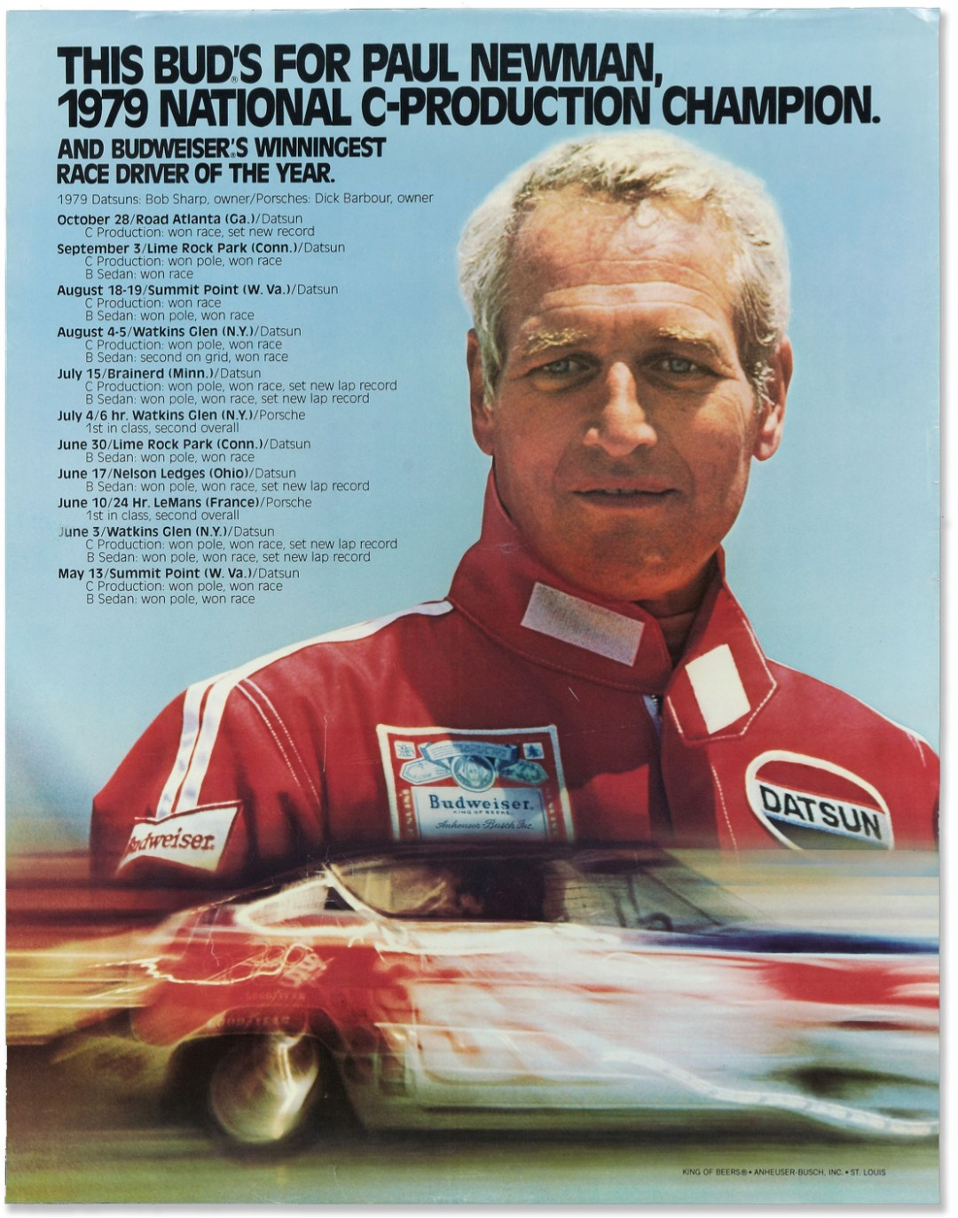 Paul Newman Budweiser Racing Poster