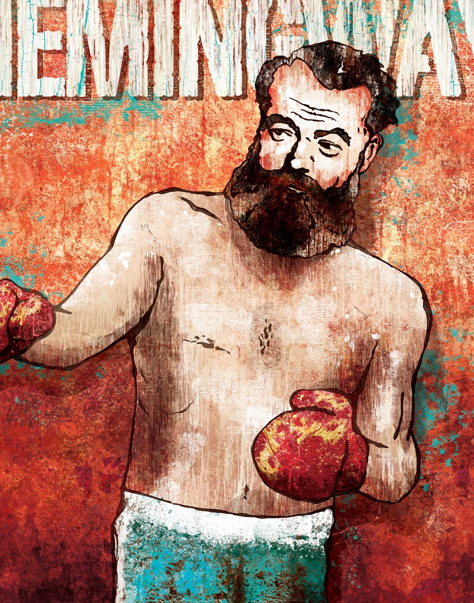 If I were searching for a painting about manliness, it would surely include Hemingway and a pair of boxing gloves.