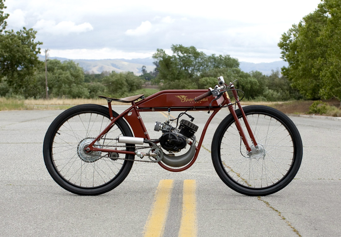 Sportsman flyer handcrafted board track motorbikes Best frame for motorized bicycle