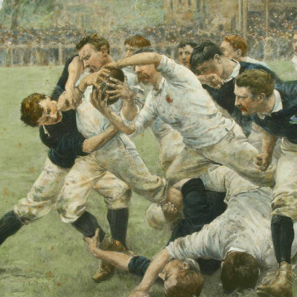 Rugby Engraving England V. Scotland :: By W.H Overend 1889 :: Sports Antiques (2)