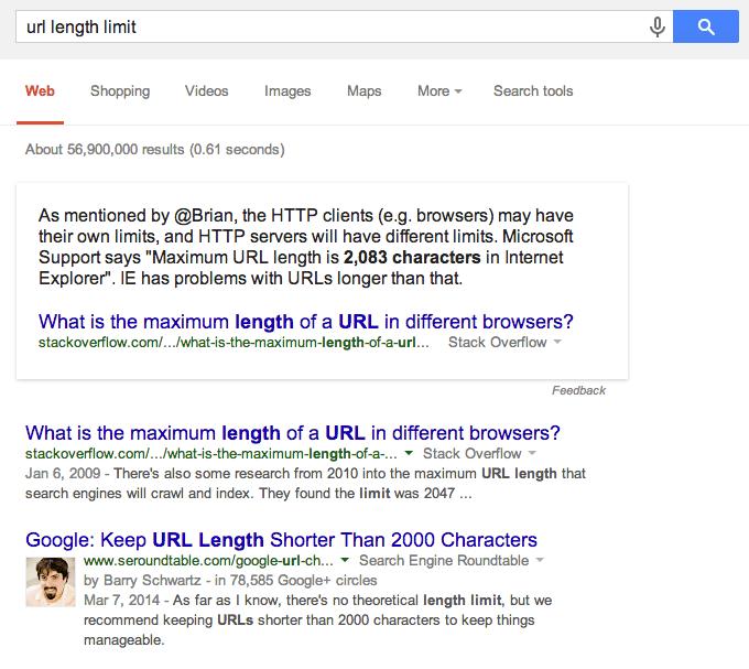 URL length limit