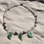 """~19"""" gemstone necklace on nylon-coated wire string, strong magnet clasps and various gemstone beads including aventurine, rose quartz, jasper, and quartz. Strong magnetic clasp is best removed carefully using both hands & separating with a fingernail. $20 - Send me a message via the contact page to get my PayPal info for purchase."""
