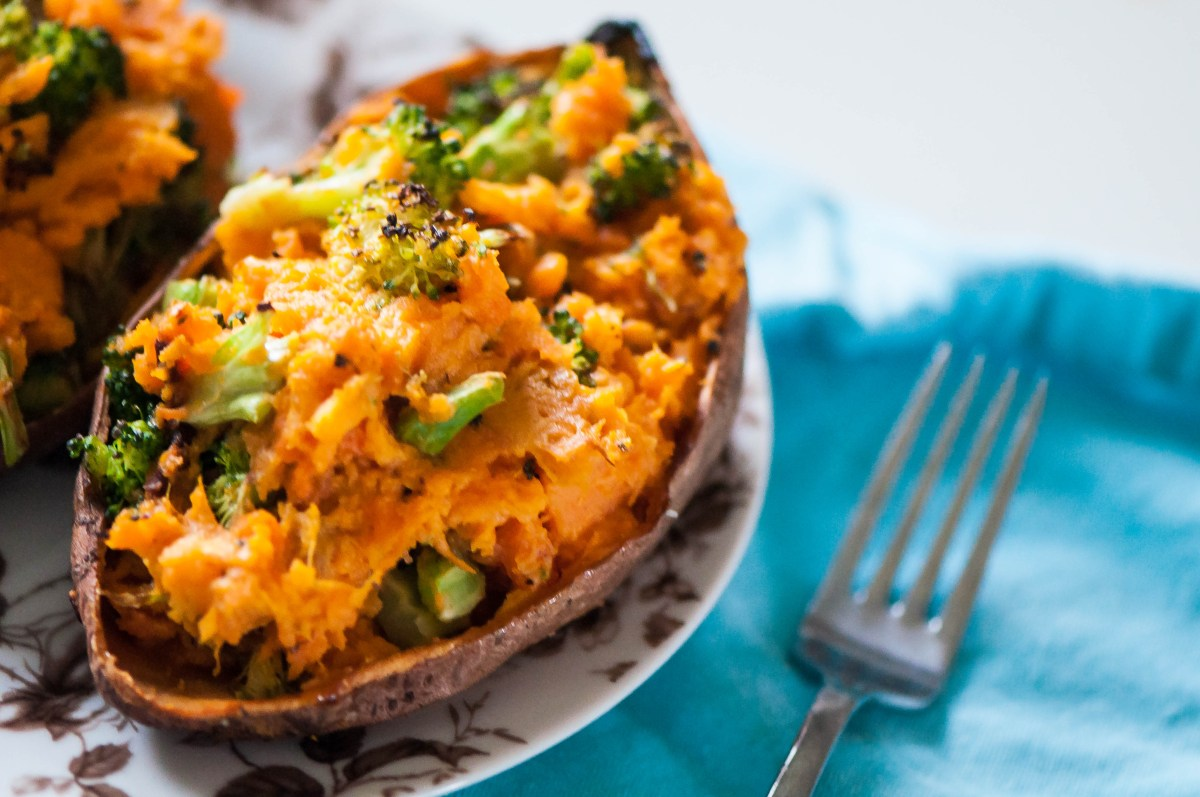 Cheesy Broccoli Twice Baked Sweet Potatoes