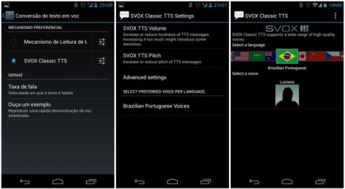 Tela de configuração do Android, do SVOX Classic e  do download do pacote de voz em português.