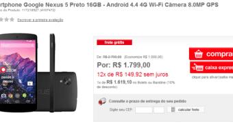 Nexus 5 chega, ao Brasil, custando R$ 1.799,00