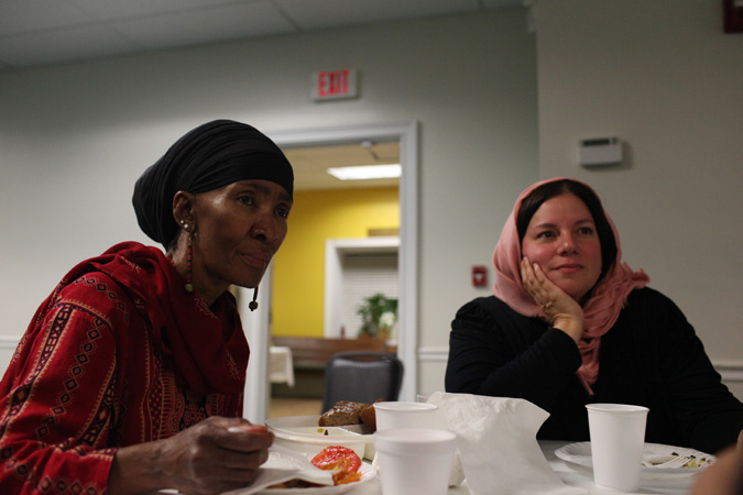 Missy Gluckmann (right) visiting a mosque (Photo courtesy of Bassim Tariq)