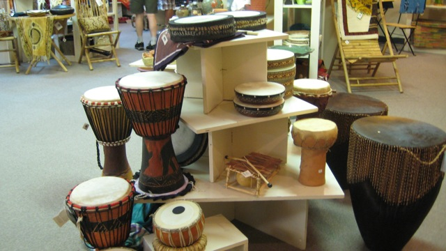 Musical instruments from various African nations.