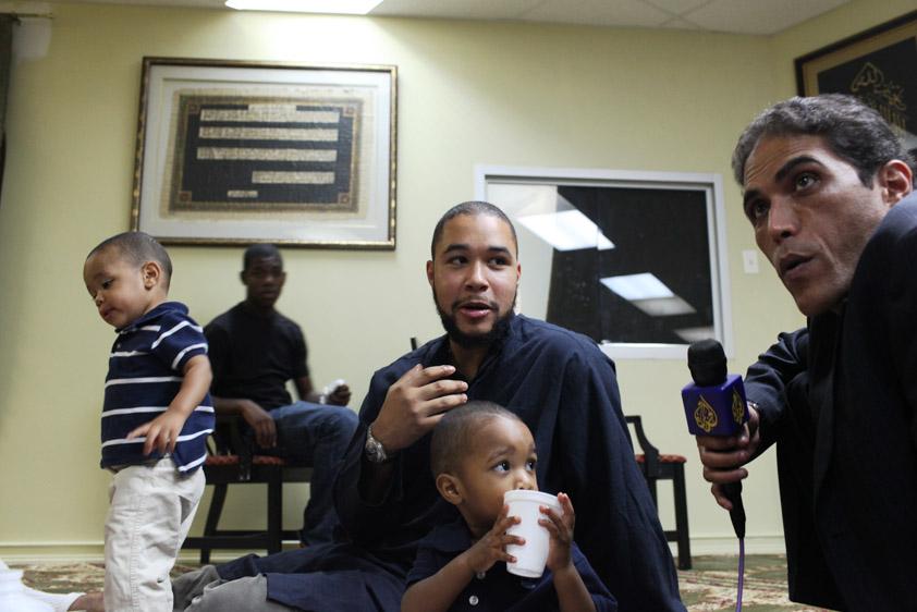 Al Jazeera news interviews congregants at a NYC mosque