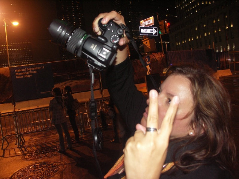 That's me taking photos of the memorial lights in NYC on 9/11/09. (Photo by Tony Zeoli.)