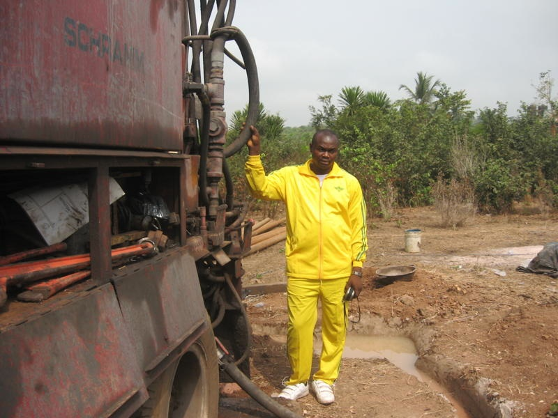Olugu at the well site.