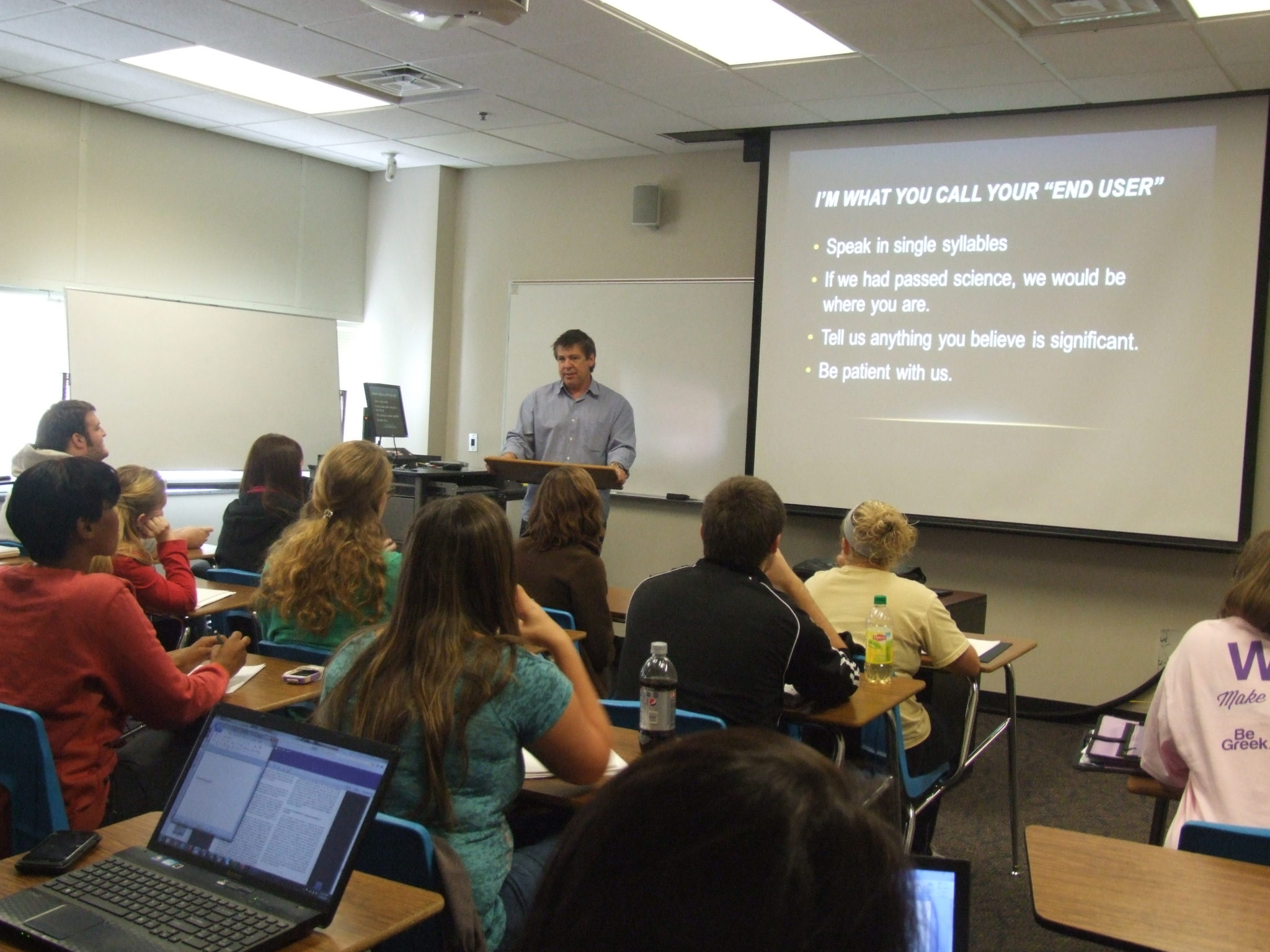 Steve Moore guest lectures in a Forensics class at Western Carolina University