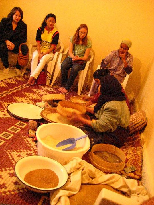 Katy (left) with Morocco Exchange Students, Couscous Association, Amzmiz, Morocco, 2010