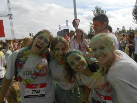 With my Spanish roommates after completing the Holi Run in Madrid.