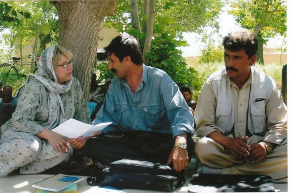 Sara meets with village leaders in Mazar-e Sharif, Afghanastan.