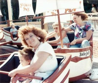 Carol and Kyle enjoying mother and son time at a European amusement park.