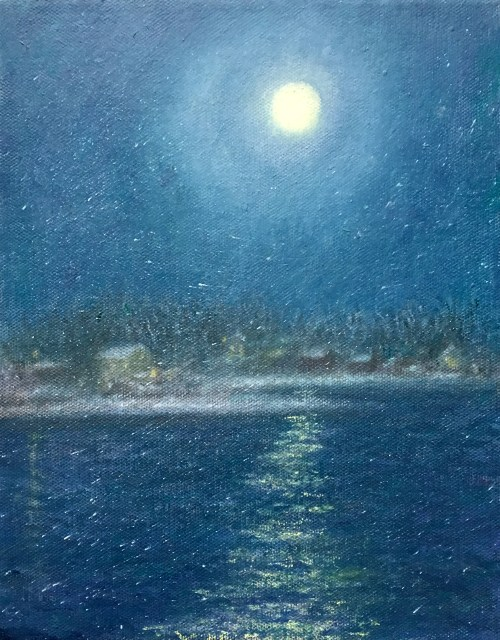 Full Moon during snow, oil painting by Melody Phaneuf