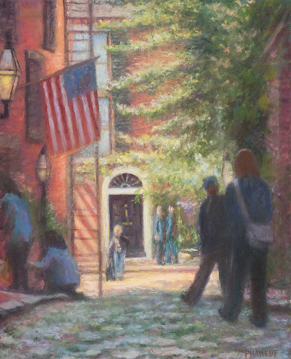 Oil Painting of Acorn St Boston by Melody Phaneuf